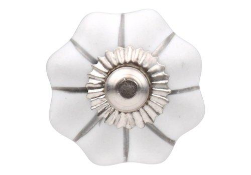 Keramik Möbelknopf weiße Blume mit silbernen Streifen 30mm