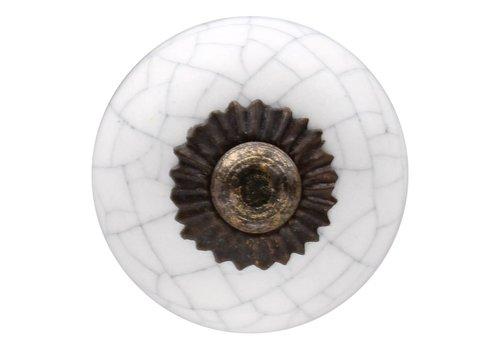 Keramik Möbelknopf weiß krakeliert 30mm