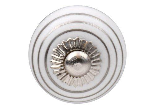 Keramik Möbelknopf weiß mit silbernen Streifen 30mm