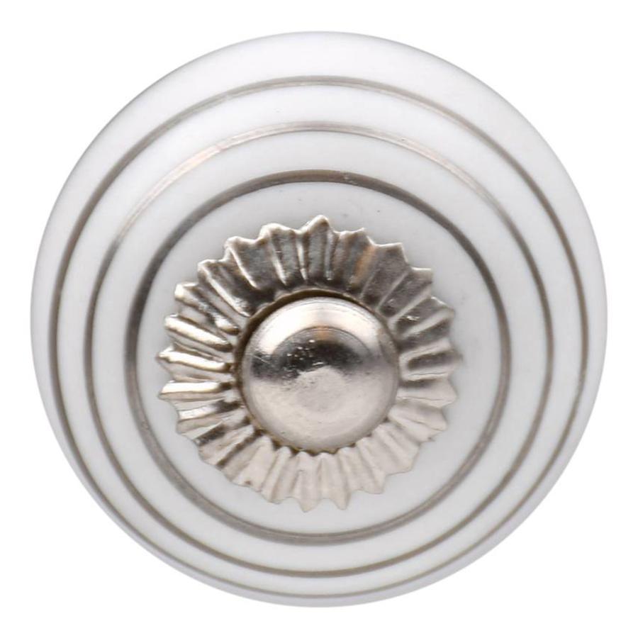 Porzellanknauf weiß mit silbernen Streifen 30mm