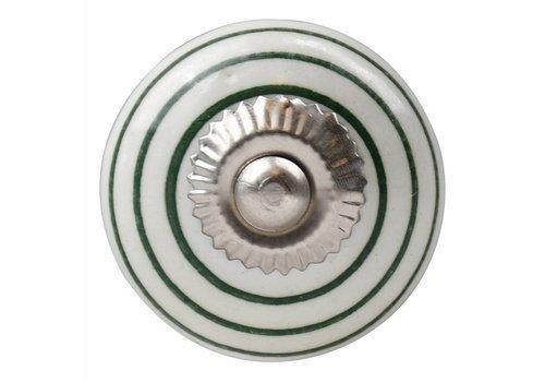 Möbelknopf weiß mit grünen Streifen