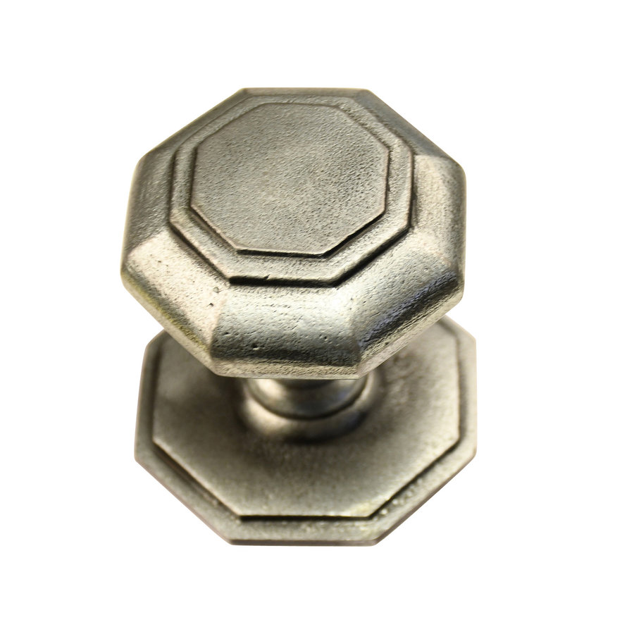 Gusseisen Türknauf achteckig 70mm - Zinn-Effekt