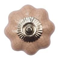 Porzellanknauf pinke Blume krakeliert