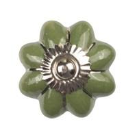 Porzellanknauf grüne Blume mit silbernen Streifen