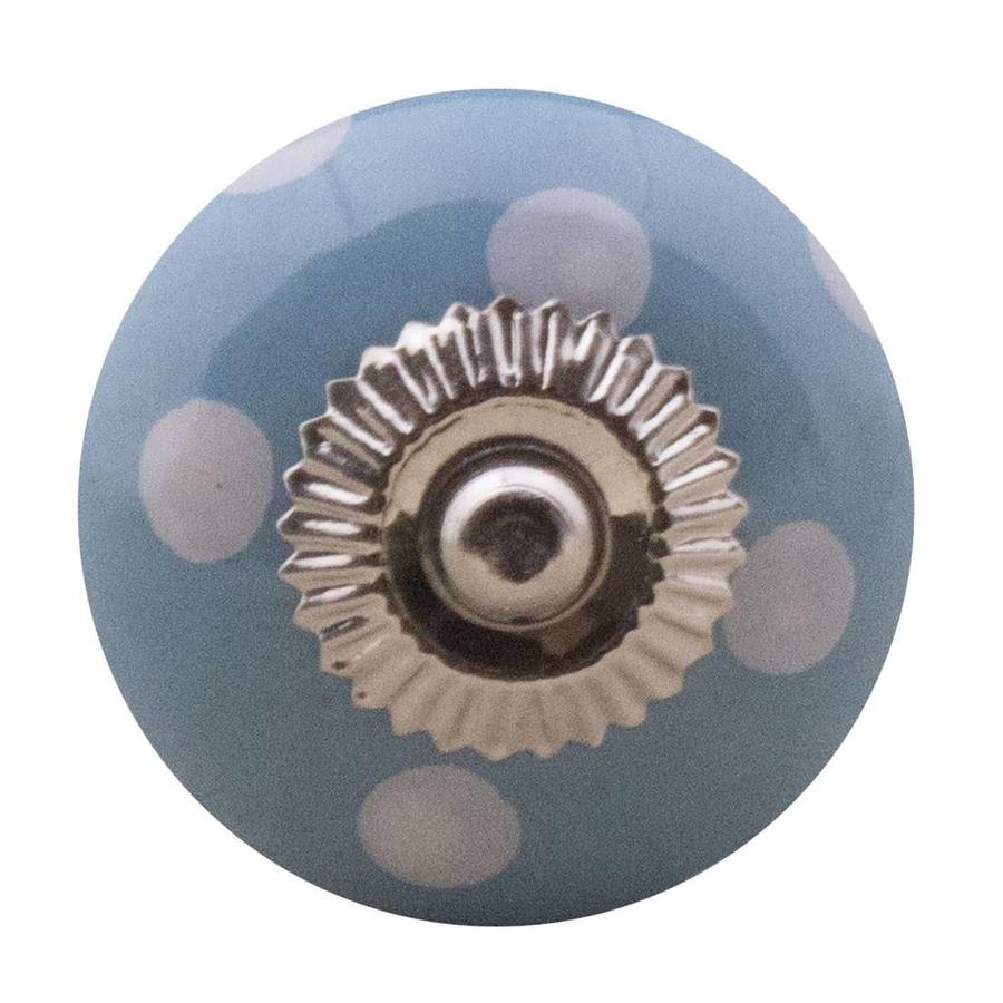 Porzellanknauf blau mit weißen Punkten