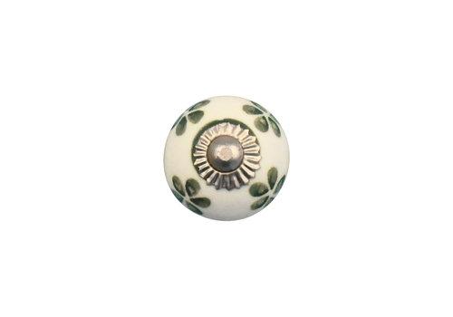 Möbelknauf weiß mit grünen Blümchen - 30mm