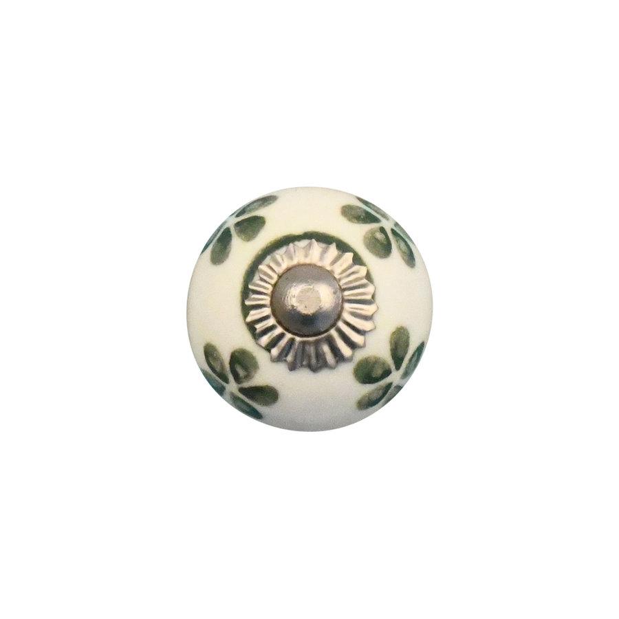 Porzellanknauf weiß mit grünen Blümchen - 30mm