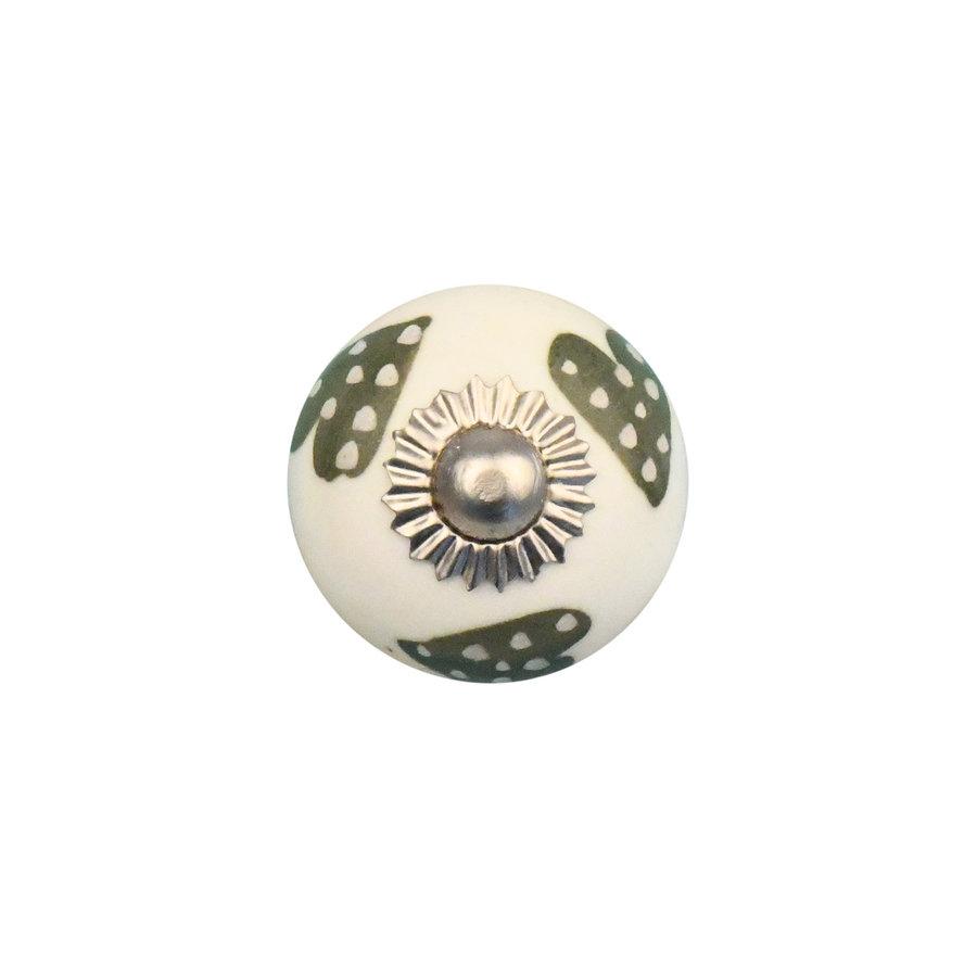 Porzellanknauf weiß mit hellgrün/weiß gepunktete Herzchen - 30mm
