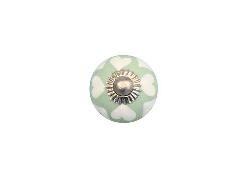 Möbelknopf grün mit weißen Herzchen - 30mm