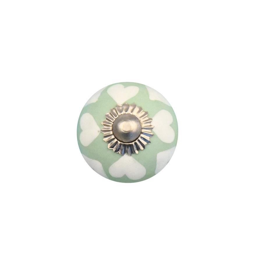 Porzellanknauf grün mit weißen Herzchen - 30mm