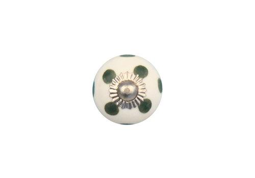 Keramik Möbelknopf weiß mit dunkelgrünen Punkten - 30mn