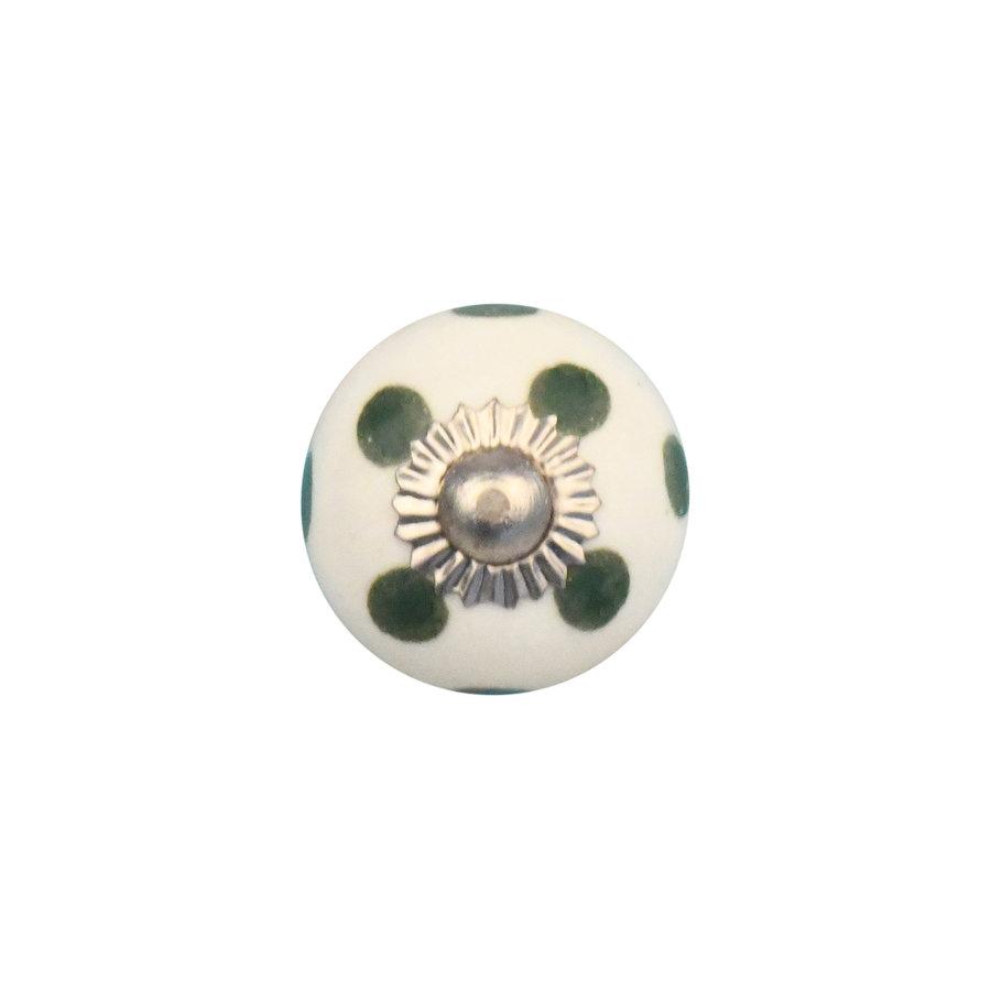 Porzellanknauf weiß mit dunkelgrünen Punkten - 30mm