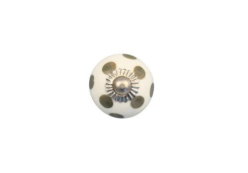 Keramik Möbelknopf weiß mit hellgrünen Punkten - 30mm