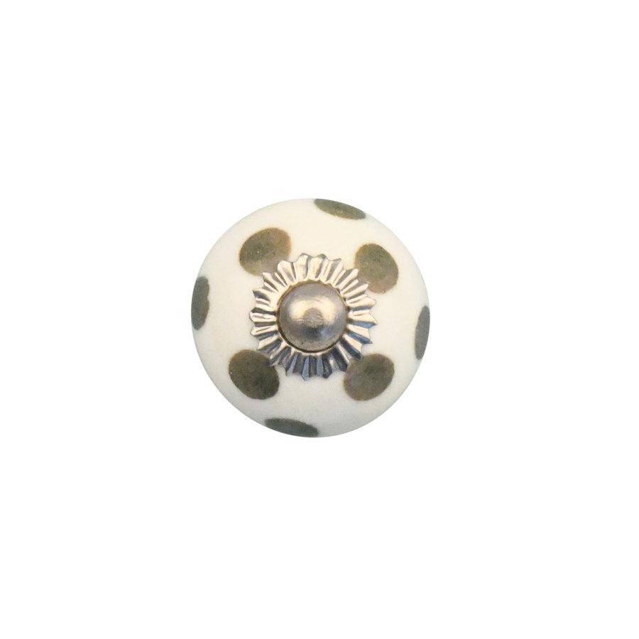Porzellanknauf weiß mit hellgrünen Punkten - 30mm