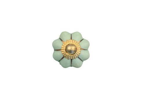 Keramik Möbelknopf grüne Blume mit goldenen Streifen - 30mm