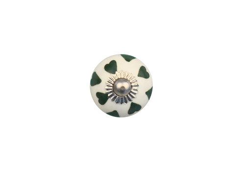 Möbelknopf weiß mit grünen Herzchen - 30mm