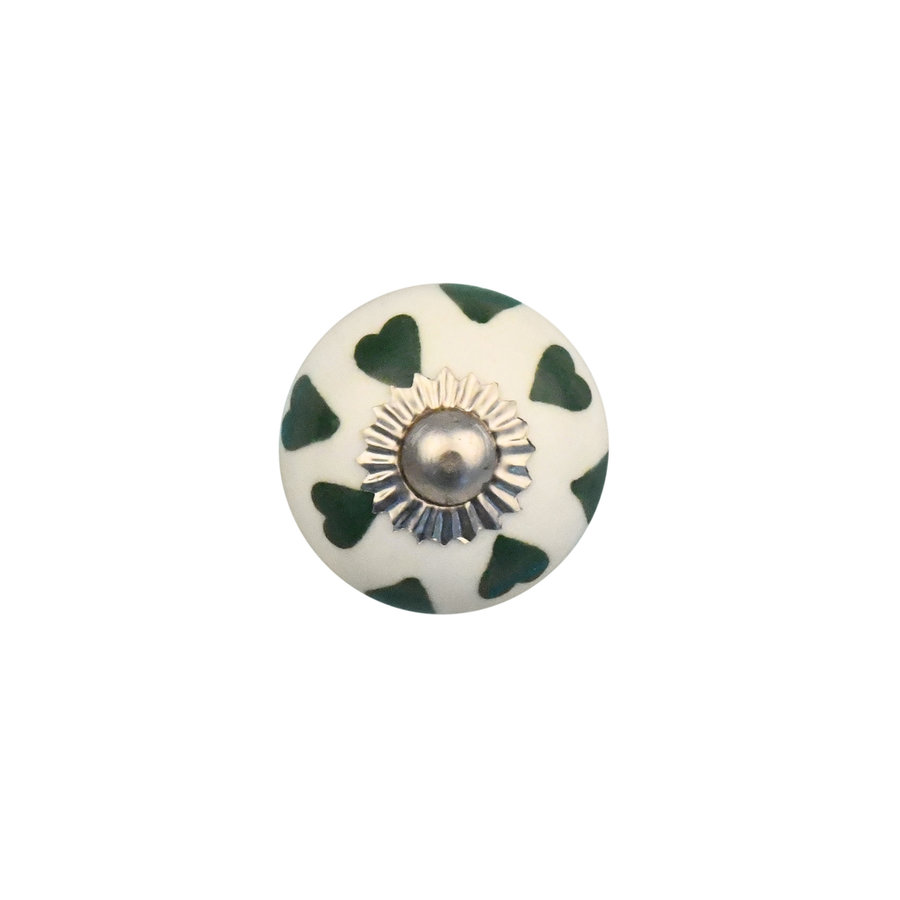 Porzellanknauf weiß mit grünen Herzchen - 30mm