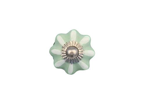 Keramik Möbelknopf grün/weiße Blume - 30mm