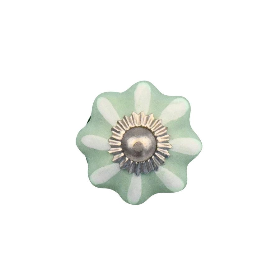 Porzellanknauf grün/weiße Blume - 30mm