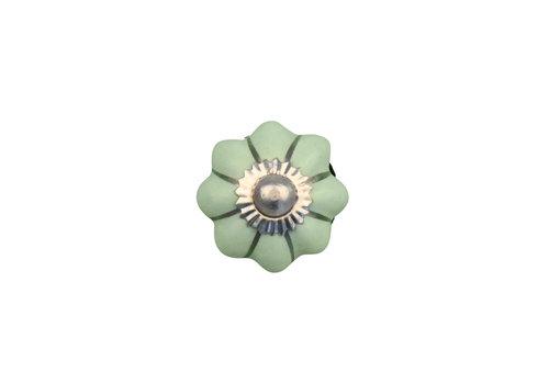 Keramik Möbelknopf grüne Blume mit silbernen Streifen - 30mm