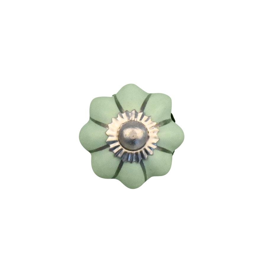 Porzellanknauf grüne Blume mit silbernen Streifen - 30mm