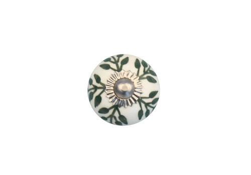 Keramik Möbelknopf - weiß mit grünen Blättern - 30mm