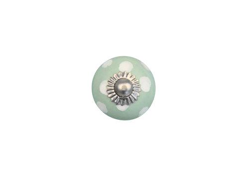 Keramik Möbelknopf grün mit weißen Punkten - 30mm