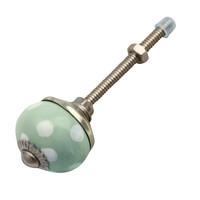 Porzellanknauf grün mit weißen Punkten - 30mm