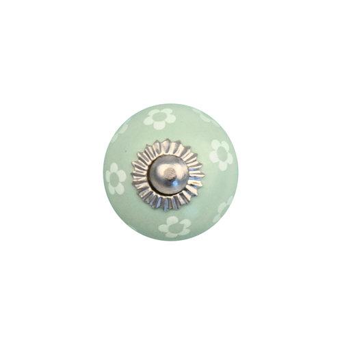 Keramik Möbelknopf grün mit weißen Blümchen - 30mm