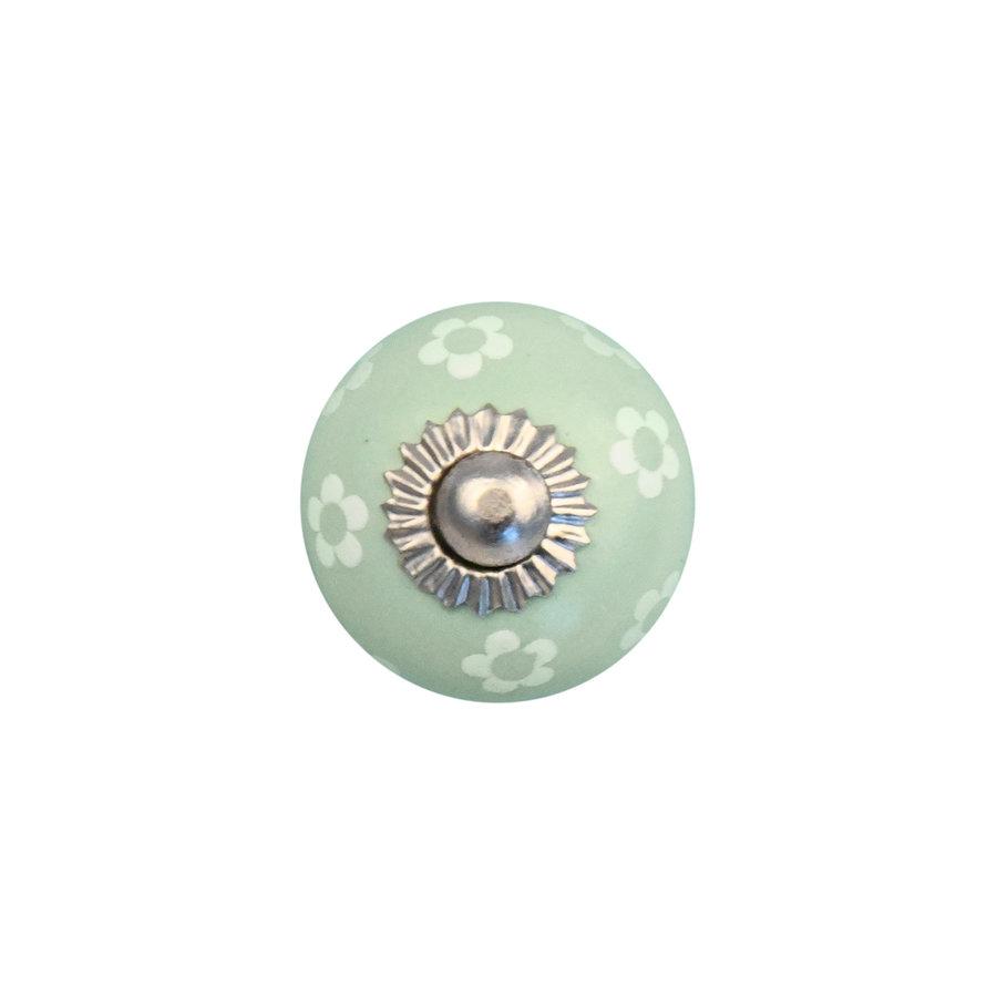 Porzellanknauf grün mit weißen Blümchen - 30mm