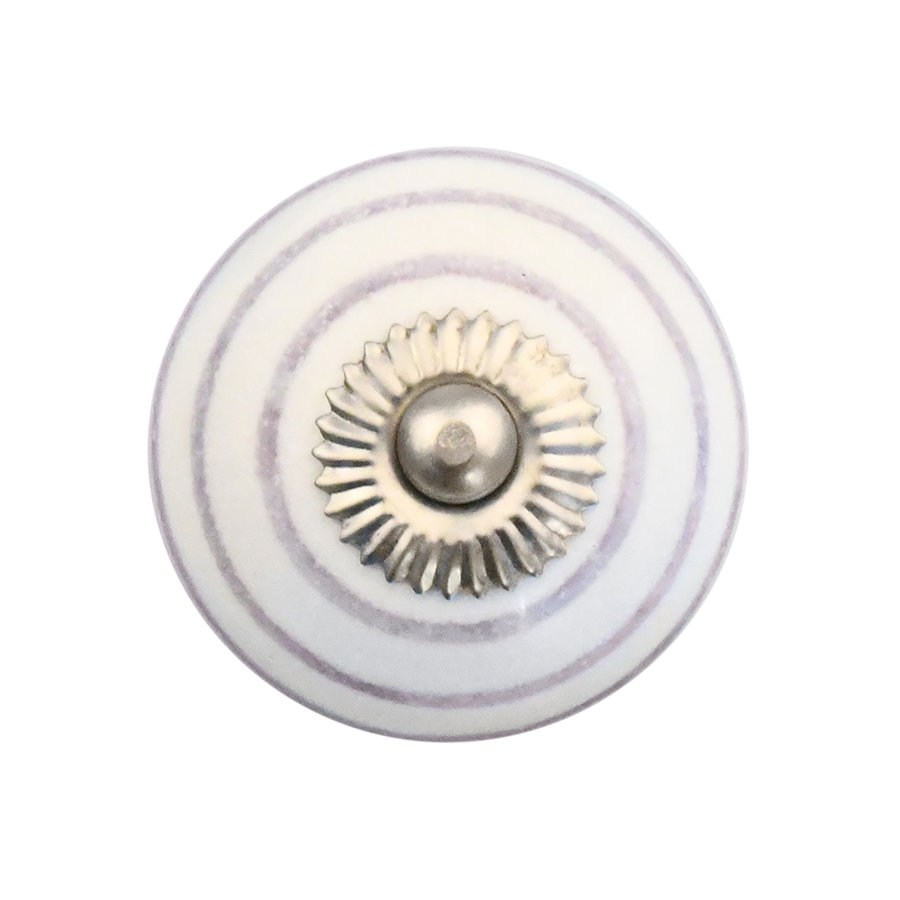 Porzellanknauf weiß mit lilanen Streifen