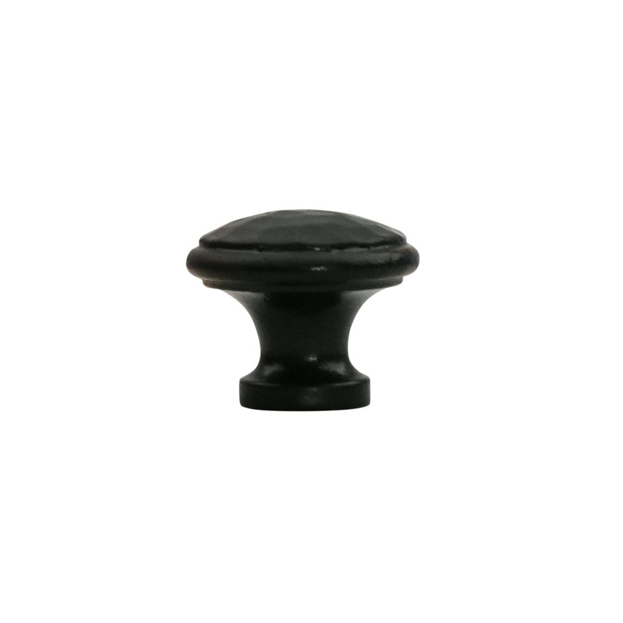 Gusseisen Möbelknopf 32mm - Hammerschlag + schwarzer Lack
