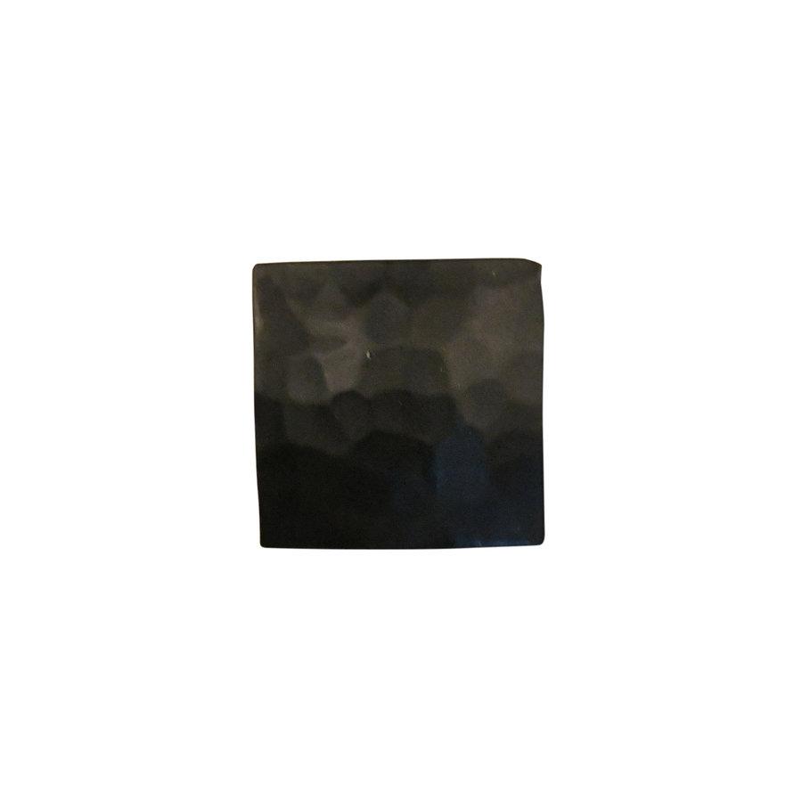 Gusseisen Möbelknopf Viereck 31mm - Hammerschlag + schwarzer Lack