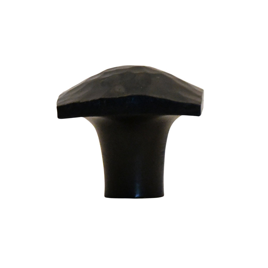 Gusseisen Möbelknopf Viereck 37mm - Hammerschlag + schwarzer Lack