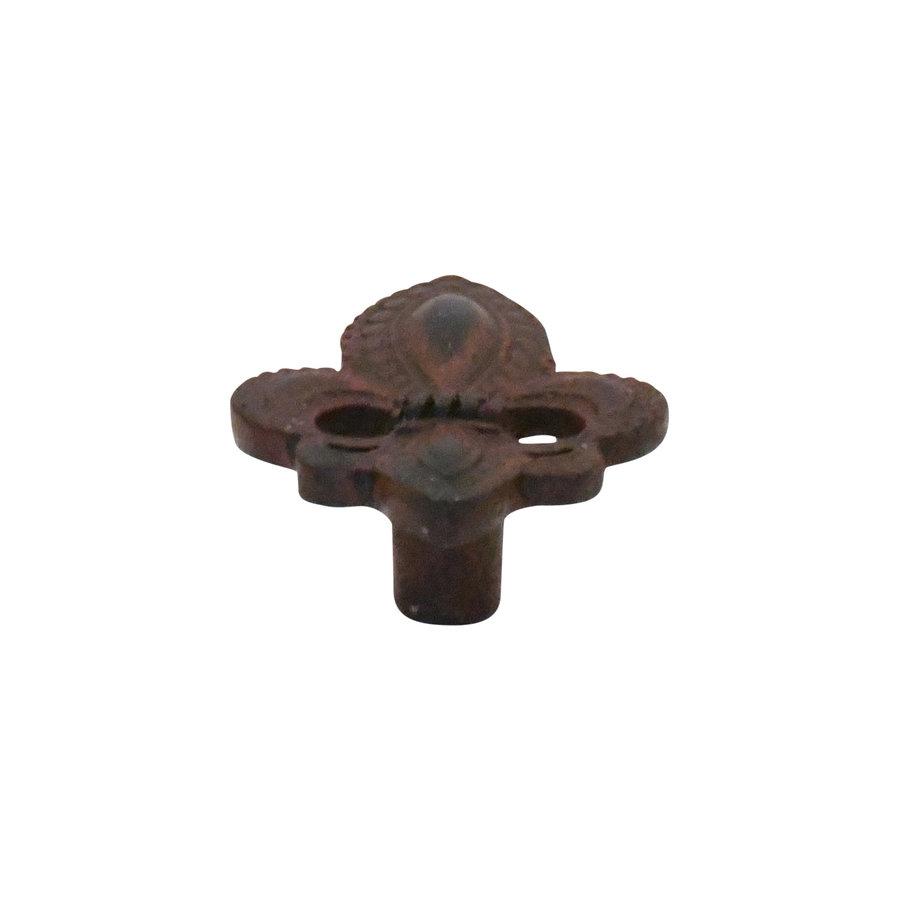 Gusseisen Möbelknauf Fleur-de-Lis 56mm - Rost