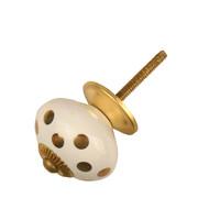Porzellanknauf weiß mit goldenen Punkten - hell