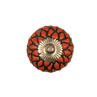 Porzellanknauf Relief - Schlange rot mit schwarz - silber