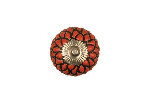 Keramik Möbelknopf Relief - Schlange rot mit schwarz - silber
