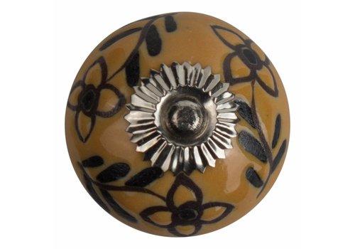 Keramik Möbelknopf Relief - Blumen gelb mit schwarz