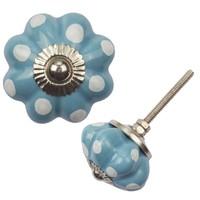 Porzellanknauf Blume - blau mit weißen Punkten
