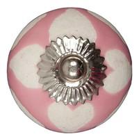 Porzellanknauf pink mit beigen Herzchen