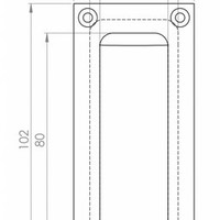 Einlassgriff rechteckig - Chrom 102mm