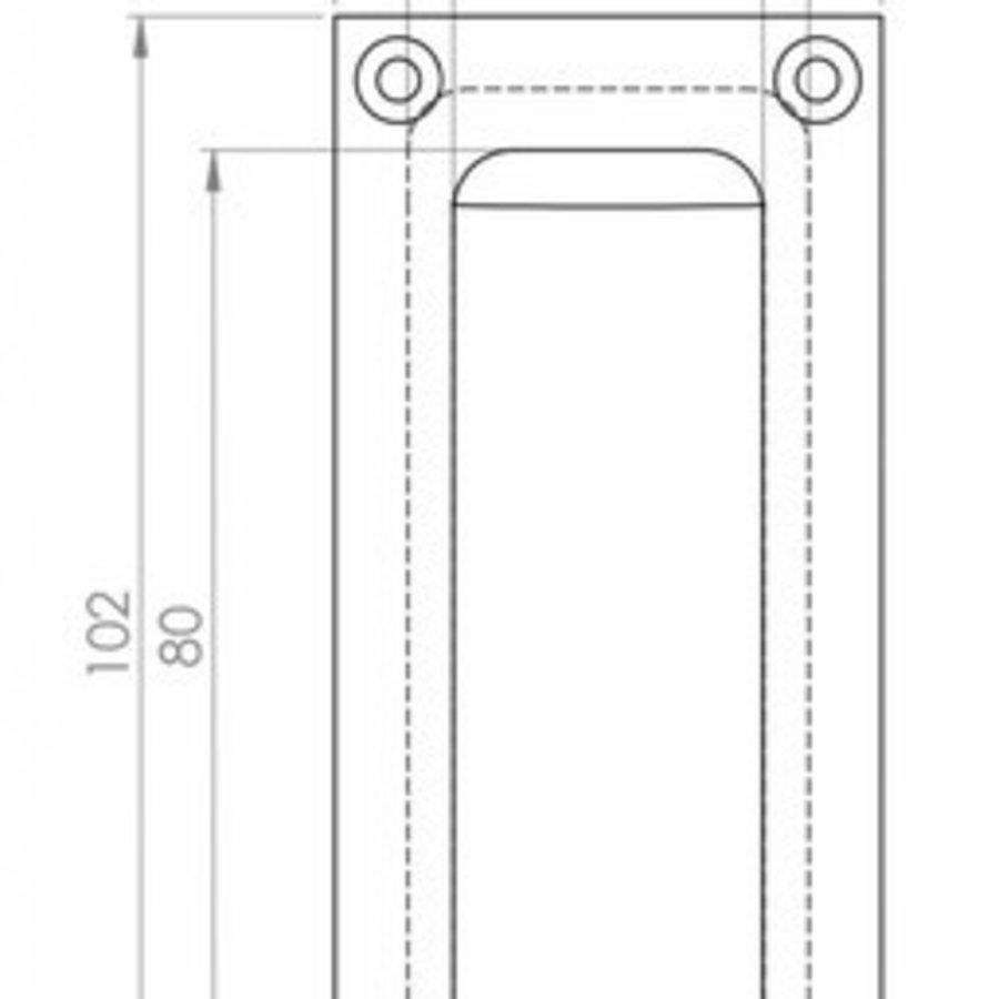 Einlassgriff rechteckig - gebürstetes Chrom 102mm