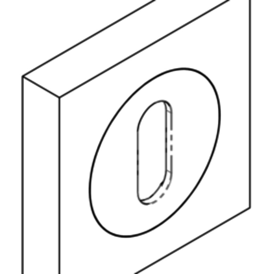 Schlüsselrosette viereckig 51 x 51mm - matt-schwarz