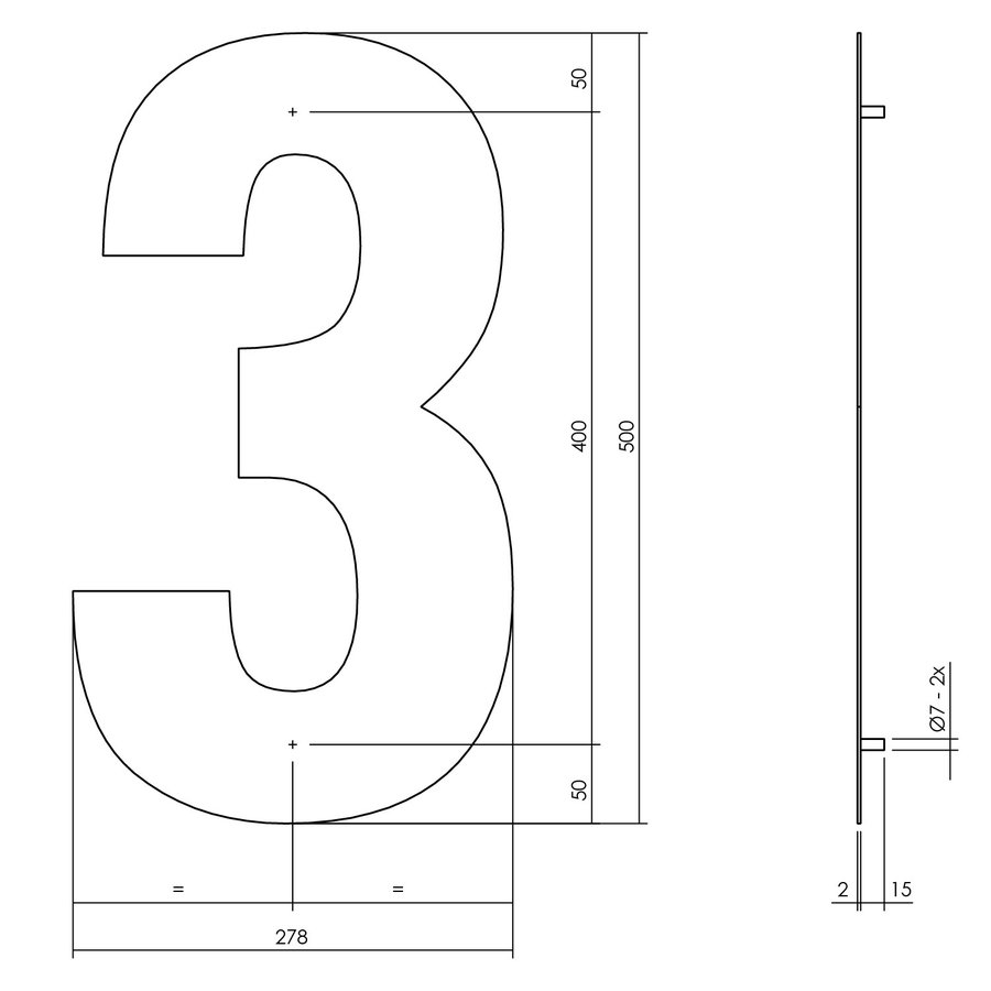 Hausnummer 3 XXL - 500mm mattschwarz