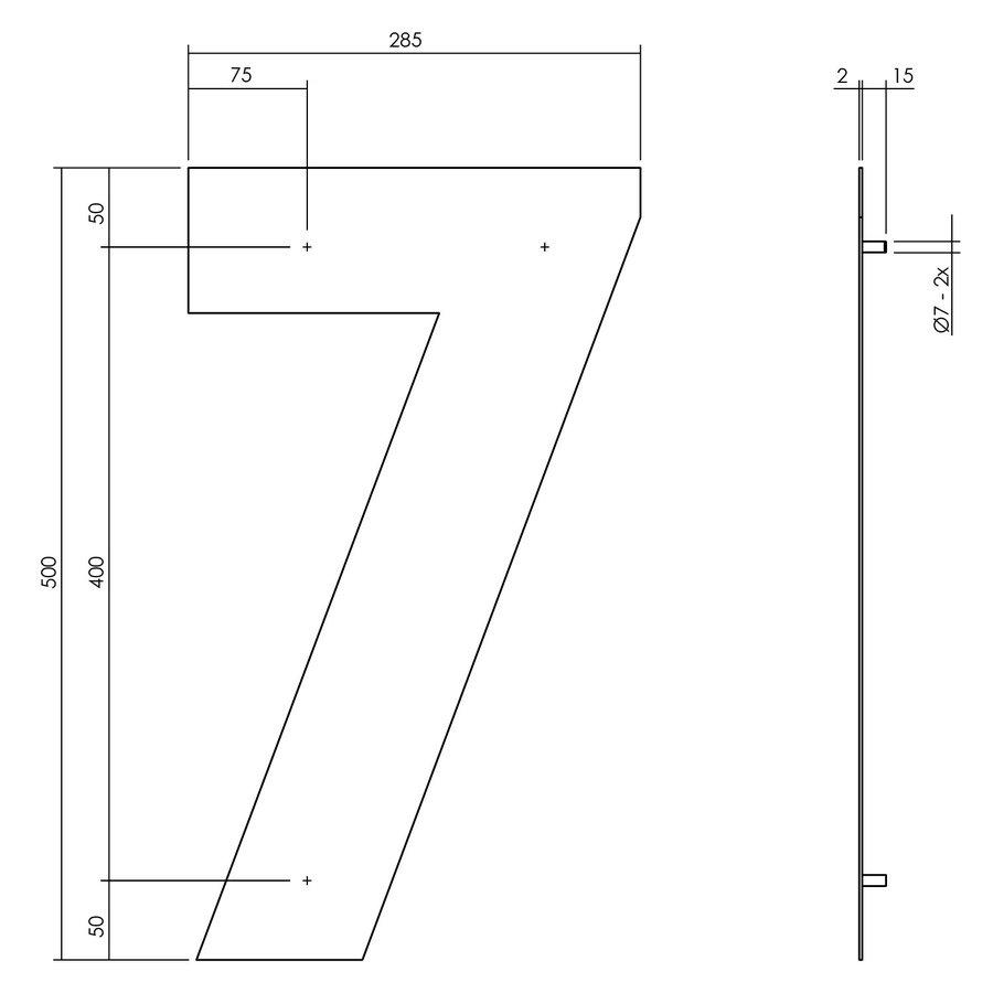 Hausnummer 7 XXL - 500mm mattschwarz