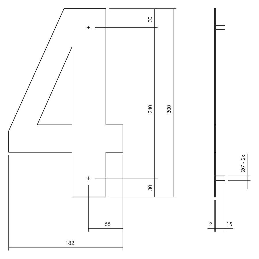 Hausnummer 4 XL - 300mm mattschwarz