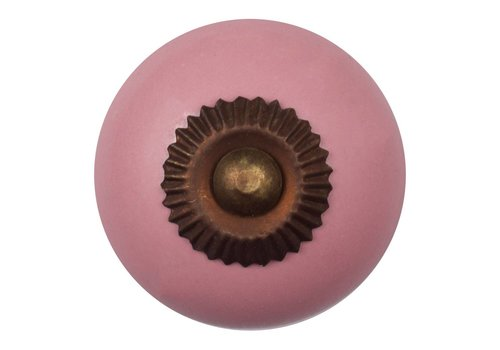 Keramik Möbelknopf pink - dunkler Beschlag