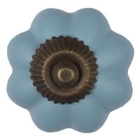 Porzellanknauf blaue Blume - dunkler Beschlag