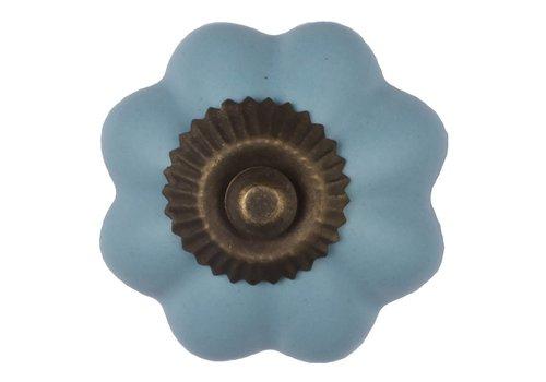Keramik Möbelknopf blaue Blume - dunkler Beschlag